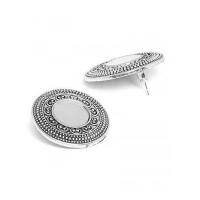 Oxidized Silver Stud Earrings