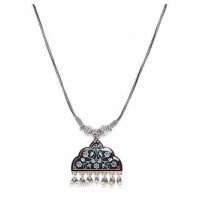 Green Floral Oxidized Silver Pendant Necklace