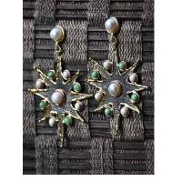 Designer Brass Earrings Studded With Semi Precious Gemstones