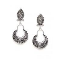 Oxidized Silver Patterned Dangler Earrings