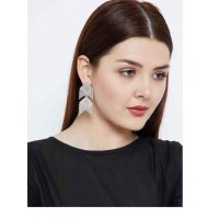 Multi-layered Shiny Silver Plated Western Earrings Danglers