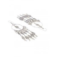 Silver Hands and Leaves Oxidized Earrings