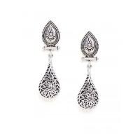 Oxidized Silver Floral Drop Earrings