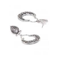 Oxidized Silver Bali Earrings