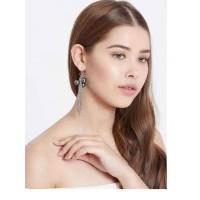 Metallic Chain Western Handmade Earrings With Silver Beads