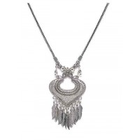 Metallic Heart and Hanging Leaves Oxidized Tribal Jewellery Fashion Necklace