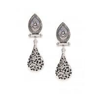 Short Oxidized Silver Dangler Earrings