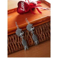 Layered Peacock Oxidized Silver Earrings