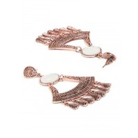 Rose Gold Dangler Earrings with Floral Motifs