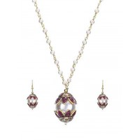 Red Pearl Serene Gold Plated Pendant Fashion Necklace Set