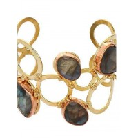Stylish Labrodorite Three Tone Bracelet Cuffs