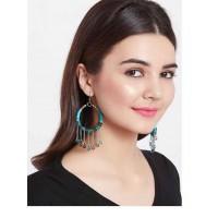 Grey and Blue Beaded Western Handmade Earrings
