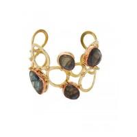 Stylish Labrodorite Three Tone Bracelet Cuffs