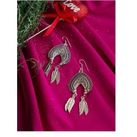 Spade and Leaves Oxidized Silver Earrings