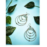 Gold Plated Brass Metal Layered Hoops Western Earrings