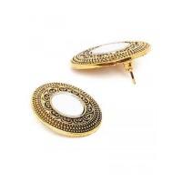 Golden Round Stud Earrings