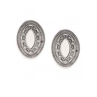 Oxidized Silver Mirror Stud Earrings