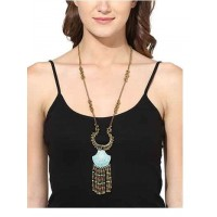 Rabia Designer Long Chain Turquoise Stone Studded Fashion Necklace