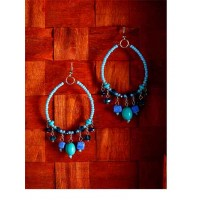 Beaded Blue and Green Western Handmade Earrings With Stones