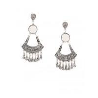 Oxidized Silver Mirror Dangler Earrings