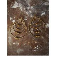 Multiple Gold Plated Layered Rings Designer Western Earrings