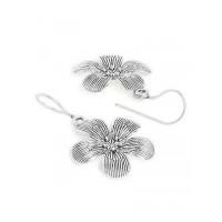 Chunky Silver Flower Oxidized Earrings