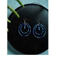 Blue and Green Beaded Western Handmade Earrings