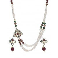 Polki with Pearl Embellished Exotic Fashion Necklace Set