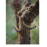 Golden Hoop Earrings With Blue Beads