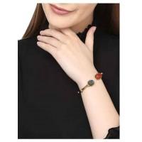 Beaded Labrodorite and Carnelian Brass Bracelet Cuffs