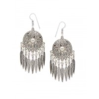 Leafy Circular Oxidized Silver Earrings