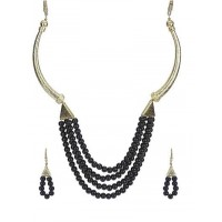 Noir Exotic Pearl Gold Plated Fashion Necklace Set