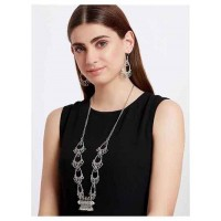 Dramatic Oxidized Silver Necklace Set With Elaborated Designer Motifs