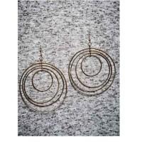 Multi-levelled Gold Plated Big Designer Hoops Western Earrings