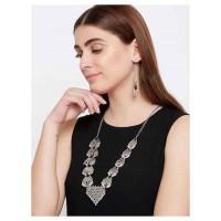 Boho Oxidized Silver Necklace Set