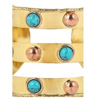 Turquoise and Rose Brass Handmade Jewellery Cuff