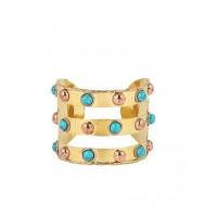 Turquoise and Rose Brass Handmade Jewellery Cuff