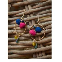 Blue and Pink Western Tassel Handmade Earrings