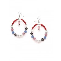 Beaded Western Handmade Earrings With Multicolored Stones