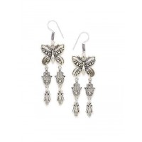 Butterfly Oxidized Silver Earrings