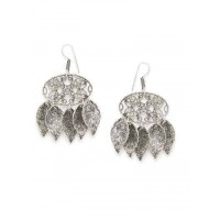 Leafy Oval Oxidized Silver Earrings