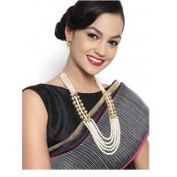 Gold Plated Pearl Embellished Fashion Necklace Set