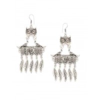 Silver Owl and Peacocks Oxidized Earrings
