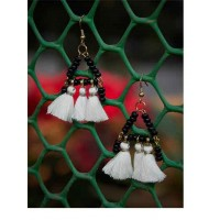 Black Beaded Western Handmade Earrings With White Tassels