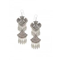 Layered Leafy Oxidized Silver Earrings Embellished With Peacocks and Patterned Motifs