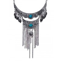 Multi Layer Teal Stone Ethnic Tassel Tribal Jewellery Necklace