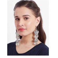 Layered Oxidized Silver Earrings Adorned For Women