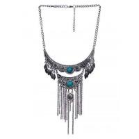Multi Layer Teal Stone Ethnic Tassel Tribal Jewellery Necklace
