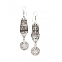 Long Oxidized Silver Ganesha Earrings