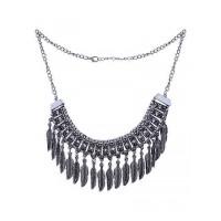 Vintage Silver Leaf Fringe Bib Fashion Necklace